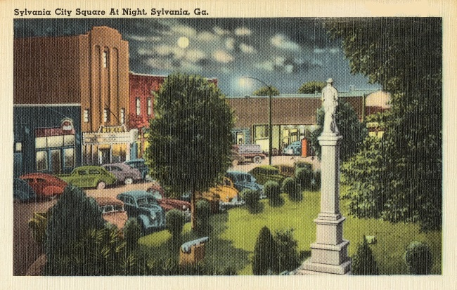 City of Sylvania depicted at night from the 1940s